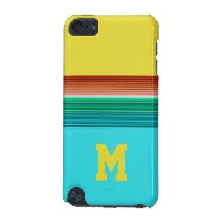 Motif rayé multicolore bleu jaune décoré d'un coque iPod touch 5G