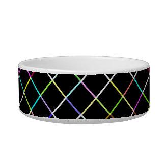 Motif rayé par carré multicolore bols pour chat