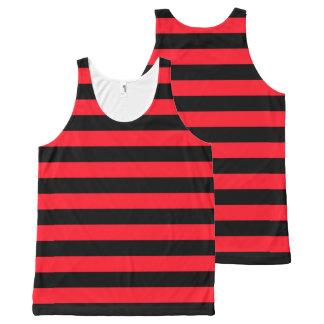 Motif rayé rouge et noir Coloured Débardeur Tout-imprimé