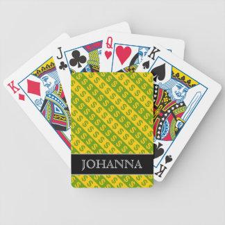 Motif rayé vert et jaune des symboles dollar ($) jeu de cartes