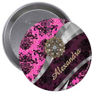 Motif rose assez girly personnalisé de damassé badge rond 10 cm