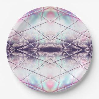 Motif rose, blanc, pourpre et bleu d'abrégé sur assiettes en papier