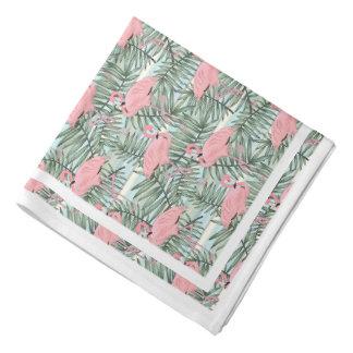 Motif rose de feuilles de palmier de flamants bandanas
