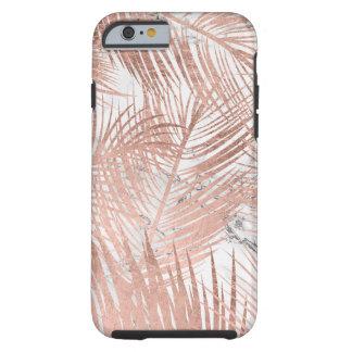Motif rose de marbre de feuille de palmier d'or de coque tough iPhone 6