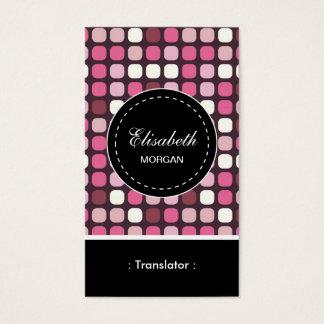 Motif rose de polka de traducteur cartes de visite