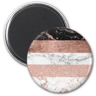 Motif rose de rayure de marbre d'or de bloc magnet rond 8 cm