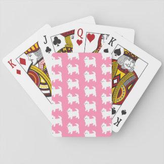 Motif rose de Westie - chiens des montagnes Cartes À Jouer Poker