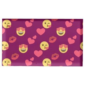 Motif rose doux mignon de baiser de coeurs d'amour porte-carte de table