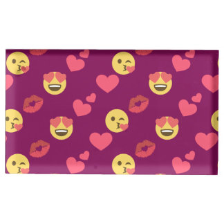 Motif rose doux mignon de baiser de coeurs d'amour porte-cartes de  table
