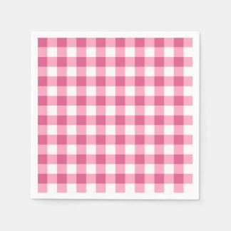Motif rose et blanc de contrôle de guingan serviettes jetables