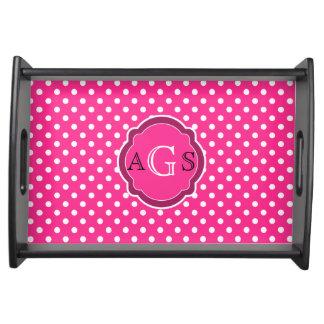 Motif rose et blanc de monogramme de polka de poin plateaux de service