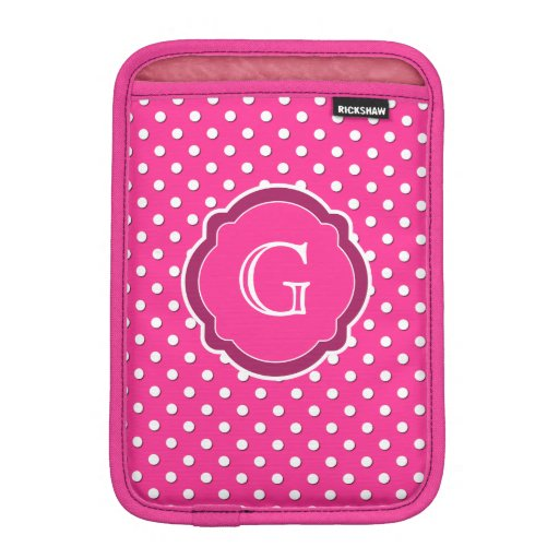 Motif rose et blanc de monogramme de polka de poin housses iPad mini