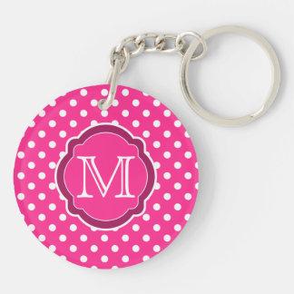 Motif rose et blanc de monogramme de polka de poin porte-clef