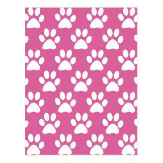 Motif rose et blanc de pattes de chiot carte postale