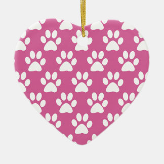 Motif rose et blanc de pattes de chiot ornement cœur en céramique