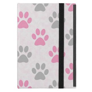 Motif rose et gris d'empreintes de pattes coques iPad mini