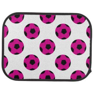 Motif rose et noir de ballon de football tapis de sol