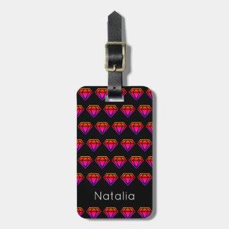Motif rose lumineux de diamant de gradient étiquettes bagages