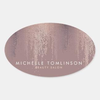 Motif rose Luxe de pluie de confettis d'or Sticker Ovale