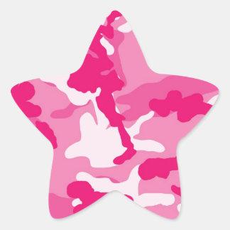Motif rose mignon de camouflage sticker étoile