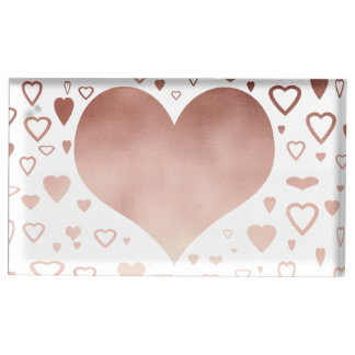 motif rose moderne élégant de coeurs de feuille porte-carte de table
