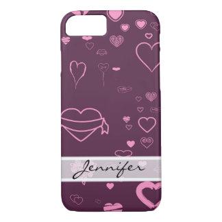 Motif rose moderne élégant de Purple Heart Coque iPhone 7