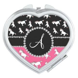 Motif rose noir de licorne de monogramme miroirs compacts
