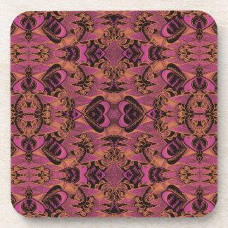 Motif rose, orange, noir, soyeux d'art déco sous-bock