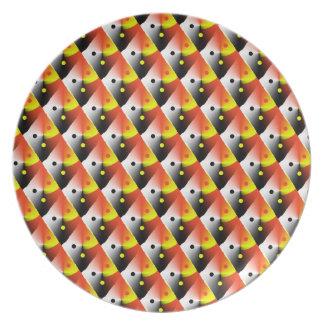 Motif rouge 3D et jaune Assiette Pour Soirée