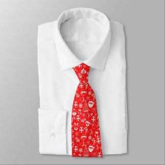 Motif rouge de bonhomme de neige de Père Noël Elf Cravate
