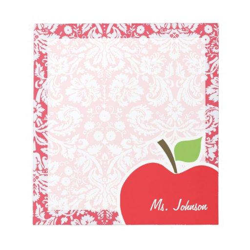 Motif rouge de damass cadeau pour le professeur blocs - Grille indiciaire professeur certifie ...