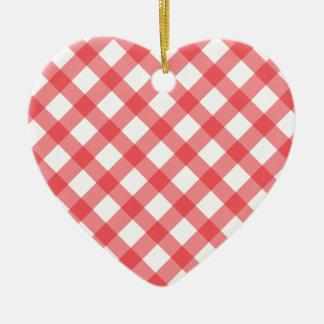 Motif rouge de guingan ornement cœur en céramique