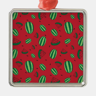 Motif rouge de pastèque ornement carré argenté