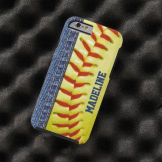 Motif rouge de point du base-ball jaune fait sur coque tough iPhone 6