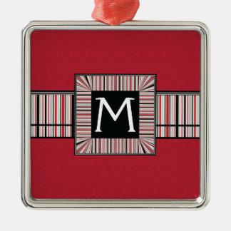Motif rouge de ronds de dentelle avec l'initiale ornement carré argenté