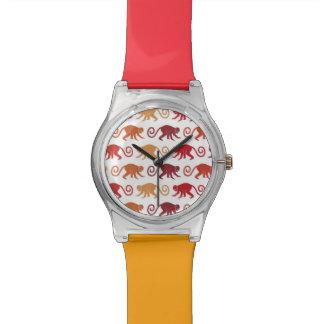 Motif rouge de singes montre