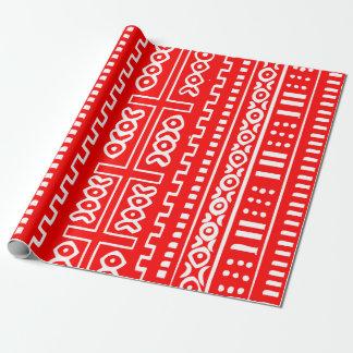 Motif rouge de tissu de boue papier cadeau