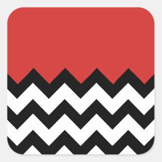 Motif rouge de tomate sur le grand zigzag Chevron Sticker Carré