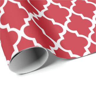 Motif rouge de tuiles de Quatrefoil de canneberge Papiers Cadeaux