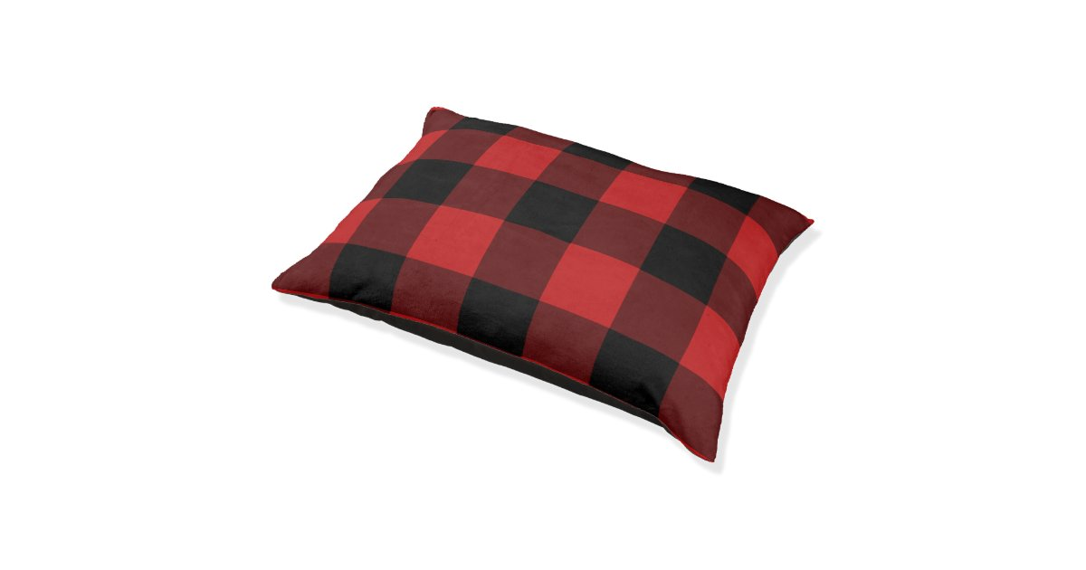 motif rouge d 39 impression de plaid de buffalo lit pour chien zazzle. Black Bedroom Furniture Sets. Home Design Ideas