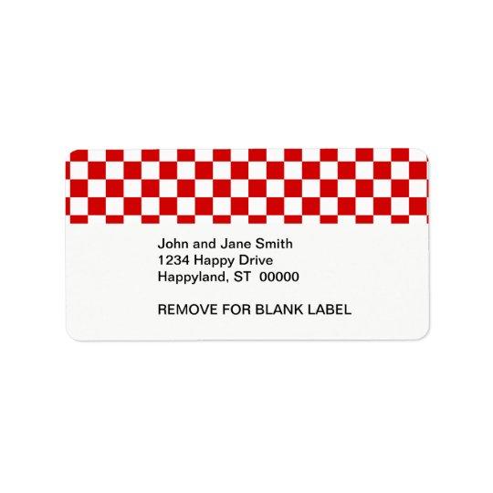 Motif rouge et blanc de contrôleur étiquettes d'adresse