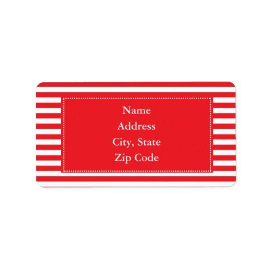 Motif rouge et blanc de rayures étiquette d'adresse