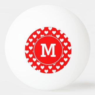 Motif rouge et blanc décoré d'un monogramme de balle tennis de table