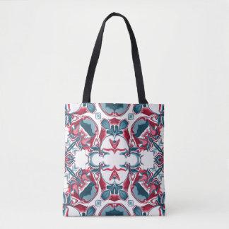Motif rouge et bleu #4 de kaléidoscope tote bag