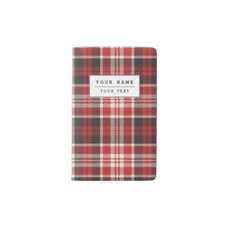 Motif rouge et noir de plaid protège-carnet de poche