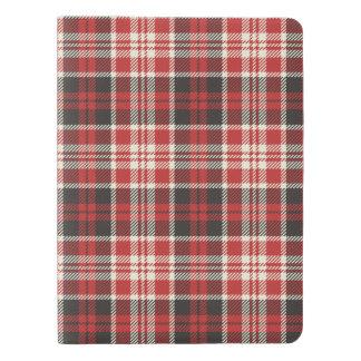 Motif rouge et noir de plaid protège-carnet x-large