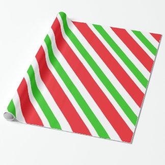 Motif rouge et vert de rayures papier cadeau