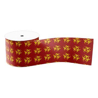Motif Rouge-Jaune de symbole de Biohazard Ruban Gros-grain