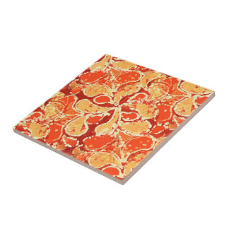Motif rouge jaune-orange de Paisley de style de Carreau