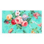 Motif rouge-rose élégant vintage de roses jaunes carte de visite